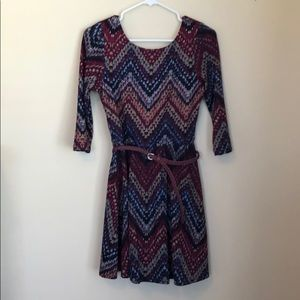 Multi Color dress with 3/4 sleeves.